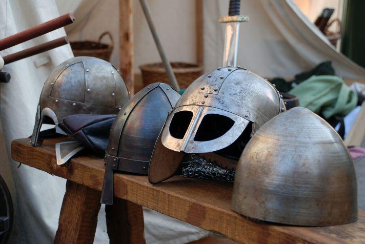 12074488 - various viking war helmets